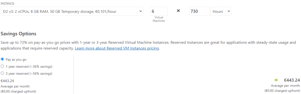 INSTANCE:  02 VB: 2 vCPUs, 8 GB RAM, 50 Ga Temporary storage, €0.101/hour  Savings Options  6  Virtual  Machines  x  730  Hours  Save up to 72% on pay-as-you-go prices with I-year or 3-year Reserved Virtual Machine Instances. Reserved Instances are great for applications with steady-state usage and  applications that require reserved capacity. Learn more about Reserved VM Instances pricing.  @ Pay as you go  C) 1 year reserved (—36% savings)  C) 3 year reserved (—56% savings)  €443.24  Average per month  (€0.00 charged upfront)  €443.24  Average per month  (€0.00 charged upfront)