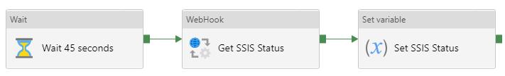 Wait  Wait 45 seconds  WebHook  Get SSIS Status  Set variable  (X) Set SS'S Status