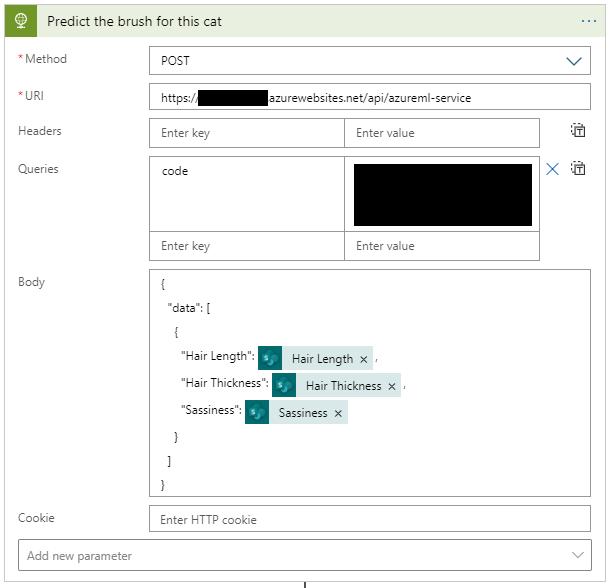 "Predict the brush for this cet  Method  Headers  Queries  Cookie  Add new parameter  https:/  Enter key  code  Enter key  ""data"":  zurewebsites.net/api/azureml-service  Enter value  x  Enter value  Hair Length x  ""Hair Length""'  ""Hair Thickness"":  Hair Thickness X  ""Sassiness'  Sassiness X  Enter HTTP cookie"
